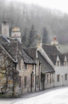 Misty morning in Castle Combe, Wiltshire, England