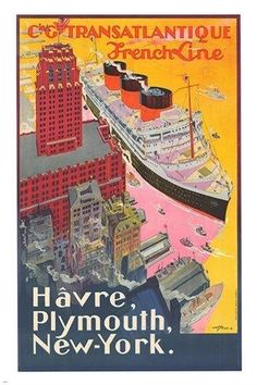 FRENCH LINE TRANSATLANTIQUE vintage travel poster CLASSIC ship 24X36 NEW Brand New. 24x36 inches. Will ship in a tube. - Multiple item purchases are combined the next day and get a discount for domest