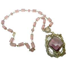 Vintage Deco Czech Pendant Necklace