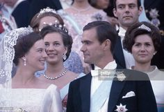 royalhats: Crown Princess Margrethe and Count Henri de Labord de Monpezat, on their wedding day, June 10, 1967; behind them is Margrethe's sister Princess Benedikte