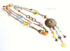 Long sautoir multicolore tons pastels perles par LesBijouxDeMarie, €33.00