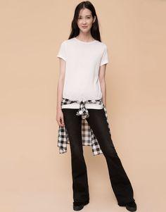 Pull&Bear - mujer - camisetas y tops - camiseta básica manga corta cuello redondo - blanco - 09238384-V2016