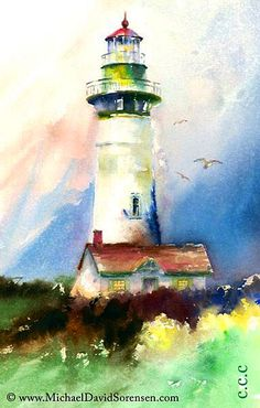Michael David Sorensen Easy Watercolor, Watercolour Painting, Watercolors, Lighthouse Painting, Beauty Illustration, Color Lines, Fun Prints, Art Boards, Lighthouses