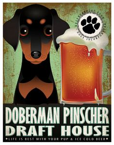 Doberman Pinscher Drinking Dogs Original Art Poster Print - Personalized Dog Art -11x14- Customize with Your Dog's Name - Dogs Incorporated
