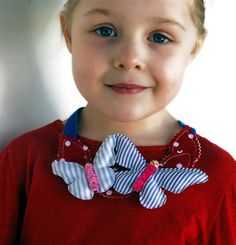 Items similar to Happy Butterfly Necklet for little girls on Etsy Fabric Butterfly, Girls Accessories, Happy Day, Etsy Store, Headbands, Little Girls, Pony, Hand Painted, Pretty