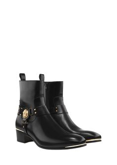 VERSACE Square Toe Medusa Boot. #versace #shoes #boots