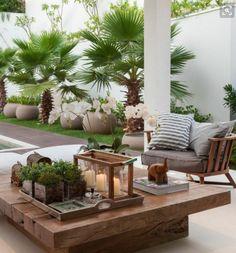 Summer style!! Veranda terrace deck patio -- elegant outdoor lounge area!! LOVE the large wood coffee table!! DIY!!