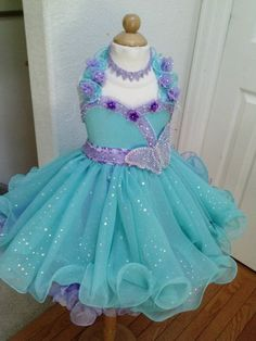 "babydoll pageant dresses for toddlers | SALE Glitz Pageant Babydoll Dress ""Alyssa"" - Seafoam & Lilac w ..."