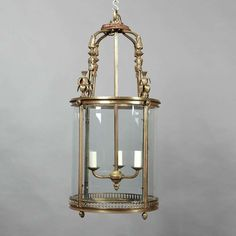 Large Gilt Brass Hall Lantern | From a unique collection of antique and modern lanterns at http://www.1stdibs.com/furniture/lighting/lanterns/