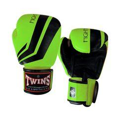 TWINS SPECIAL FIGHTING SPIRIT BOXING GLOVES- PREMIUM LEATHER- BLACK GREEN  Item Id: FBGV43B-GREEN