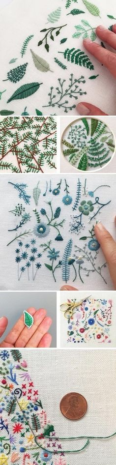 Beautiful Embroidery by Happy Cactus    Broderie bleue