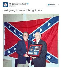Democrats Post Image Of Senator Mitch McConnell In Front Of Large Confederate Flag [Fact Check] — Business 2 Community Evil Empire, Confederate Flag, The Ugly Truth, Mitch Mcconnell, Republican Party, Democratic Party, Historian, American History, Poses
