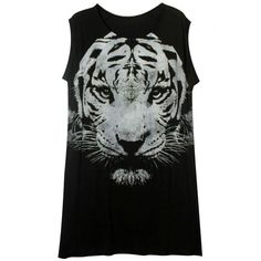 abaday Tiger Print Round Neck Sleeveless Slim T-shirt ❤ liked on Polyvore featuring tops, t-shirts, tiger t-shirt, tiger print top, sleeveless t shirt, slim t shirts and tiger print t shirt