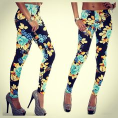 Give your gams some much needed flower power in these floral print leggings. Pair these leggings with a white sleeveless collared top, a yellow blazer, and black patent leather stilettos.
