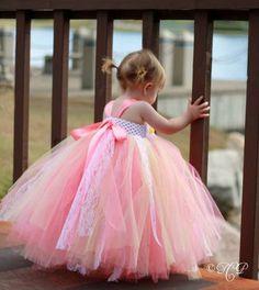 Yellow Coral Pink Tutu Dress, Flower Girl Dress, Pageant, Tutu Dress Vintage Style Tutu Dress 2T to 4T, $68.50