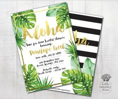 Black and white Tropical Leaf Baby Shower, Birthday, Wedding Shower, Luau Invite DIY Printable  Can make its a Boy into Its a Girl or name is