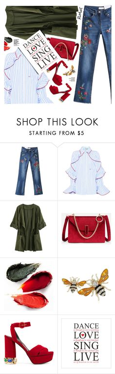 """""""Romwe. Wide-up Jeans."""" by imurzilkina ❤ liked on Polyvore featuring Off-White, Rituel de Fille, Napier, Casadei, romwe, denimtrend and widelegjeans"""