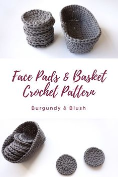 Face Scrubbie Pattern & Basket Set - Burgundy and Blush Face Scrubbie & Basket Set - Burgundy and Blush<br> A crochet pattern for home made make up remover pads and a mini basket to keep them in. Handmade, cute and sustainable face scrubbie pattern. Crochet Faces, Crochet Diy, Quick Crochet, Crochet Home, Crochet Gifts, Scrubbies Crochet Pattern, Diy Crochet Face Scrubbies, Cotton Crochet Patterns, Make Up Remover