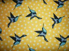 FQ YELLOW BOWS SWALLOWS BIRDS FABRIC SHABBY CHIC RETRO KITSCH
