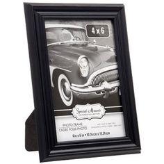 "Elegant Grooved Black Plastic Photo Frame, 4x6"""