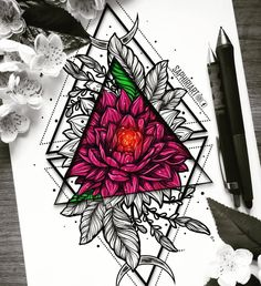 Geometrical rose flower peony colorful mandala tattoo design drawn by Saphiriart Colorful Mandala Tattoo, Mandala Arm Tattoo, Mandala Tattoo Design, Flower Mandala, Mandala Art, Tattoo Designs, Tattoo Drawings, Art Drawings, Tattoo Ink