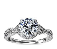 Choose twisted halo diamond engagement ring in white gold ct.) with a stunning - ct. diamond from Blue Nile. Top Engagement Rings, Halo Diamond Engagement Ring, Diamond Wedding Rings, Infinity Band Engagement Ring, Popular Engagement Rings, Round Wedding Rings, Elegant Wedding Rings, Rose Gold Engagement, Diamond Rings