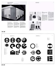 Hans Neuburg, pages from New Graphic Design, trademark design organized on a grid
