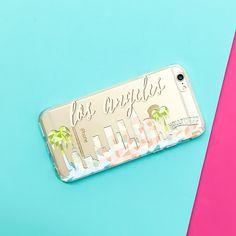 Clear TPU Case Cover Geometric Los Angeles Skyline – Milkyway