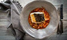 Braised Squid with Skrei Cod Loin Recipe - Great British Chefs Squid Recipes, Fish Recipes, Seafood Recipes, Dinner Party Recipes, Lunch Recipes, Cod Loin Recipes, How To Cook Cod, Fish Sandwich, Great British Chefs