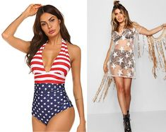 Whether you are hanging by the pool, partying on the beach or by the lake, the high waist Red & Blue Retro Swimsuit makes for a perfect outfit. Add glitter & sparkle by pairing it with a Sequin Star Sheer Mesh Dress or an oversize off the shoulder beach coverup.