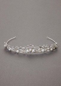 Sparkling mid height tiara is the perfect accent for your special day.  Embellished with pearls and marquis shaped crystals.  Added height adds drama.  Imported.  Available in silver.