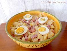 Aujourd'hui, je vous propose une salade très simple à réaliser et suivant la saison, vous pouvez également ajouter des tomates. Ingrédients : - 1,5 kg de pommes de terre - 3 tranches de museau - 5 saucisses de Strasbourg - 3 oeufs - au moins 5 belles...