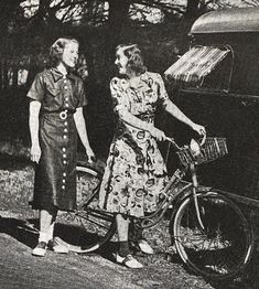 Cycling was popular for women in the 1930s for fitness and leisure. Attire for country or resort-area rides was casual - a pair of high-waist shorts or skirt and a blouse, with or without coordinated knee socks; or a sports dress.