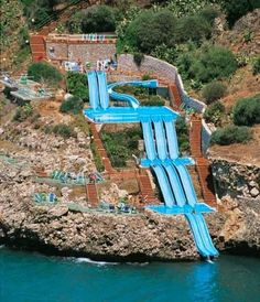 You can slide right into the Mediterranean Sea from this hotel, Citta Del Mare Hotel in Sicily