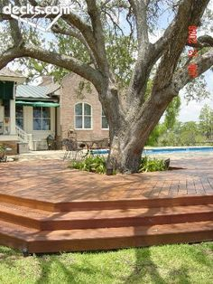 64 ideas backyard deck around trees Deck Around Trees, Tree Deck, Landscaping Around Trees, Large Backyard Landscaping, Backyard Patio, Landscaping Ideas, Residential Landscaping, Gravel Patio, Driveway Landscaping