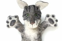 Cat felted glove toy on hand. For puppet theater. Take orders. What Is Digital, Kids Hands, Puppets, Kids Toys, Theater, Fairy Tales, Gloves, Miniatures, Felt