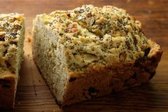 Onion and Poppy Seed Quick Bread : Replaced flour and baking soda with Pamela's baking mix - excellent product. Had to add a little more flour mix, omitted the poppy seed, and used some cheddar on top
