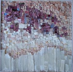 Sophie Mosaics. Boreal. Abstract mosaic with pink sapphires, violet gold, chalcedony, marble, selenite, amethyst, rose quartz, and smalti.