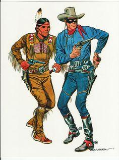 The Lone Ranger and Tonto by Gray Morrow Western Comics, Western Art, Tarzan, Comic Books Art, Comic Art, Serpieri, Jean Giraud, The Lone Ranger, Tv Westerns