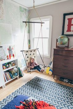 Adorable boys room with indoor swing #boysroom #pattern