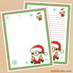 FREE Printable Christmas Minion themed Stationery Minion Classroom Theme, Minion Theme, Minion Birthday, Minion 2, Minion Christmas, Christmas Crafts For Kids, Christmas Themes, Christmas Cards, Xmas
