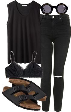 I love this black and quirky outfit / perfect for an edgy summers look with black tank and birkenstocks
