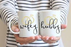 Hubby and Wifey Coffee Mugs - Personalized Wedding Gift - Unique Wedding Gift - Gift For Newlyweds - Anniversary Gift - Custom Wedding Gift by TheCoffeeCorner on Etsy