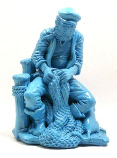 fisherman sculpture autumn nautical decor turquoise by nashpop etsy.com