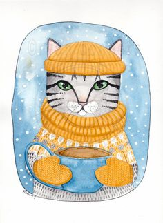 Snowy Day Cup of Coffee Cat Original Folk Art Watercolor Painting by KilkennyCat Art, $55.25 USD Copyright © Ryan Conners