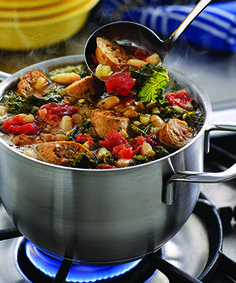 This Turkey Sausage, Kale, White Bean & Tomato Stew is a healthy stew recipe that's high in protein and a great fall recipe