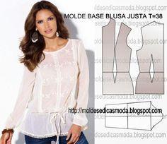 MOLDE BASE DE BLUSA JUSTA TAMANHO 38 - Moldes Moda por Medida
