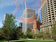 Standing in a lovely green oasis, part of the Rose Kennedy Greenway in Boston, admiring the huge 3D artwork hanging in the sky. It moves gently in the wind, pulsating without sound. It seems like a portal to another world.