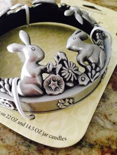Yankee Candle Illuma Lid Candle Jar Topper in Silver Spring Bunny Flowers Easter #YankeeCandle