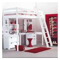 Cute red bedroom for teenager